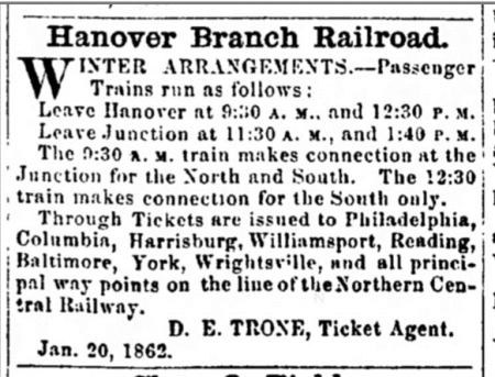 Newspaper ad of HBRR railroad schedule
