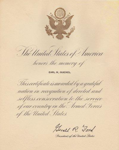 Earl Quickel memory certificate