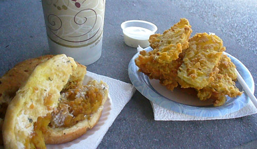 Fried tomato sandwich and fried pickles