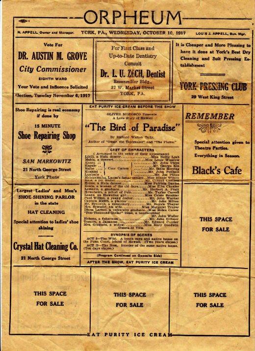 Orpheum flyer, side 1