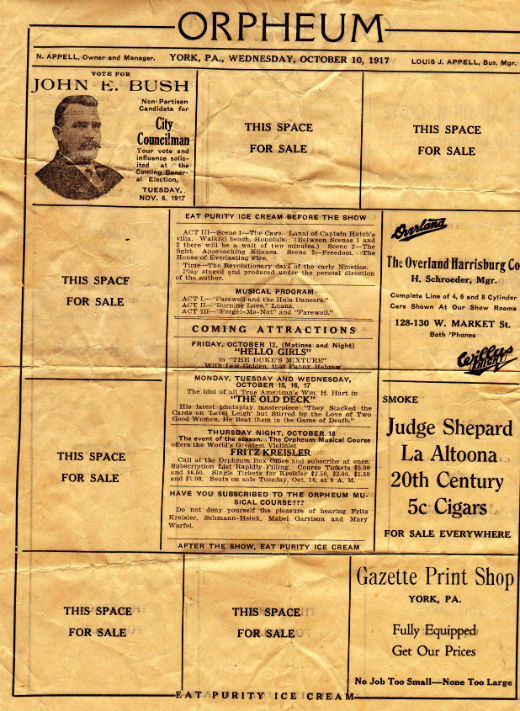 Orpheum flyer, side 2