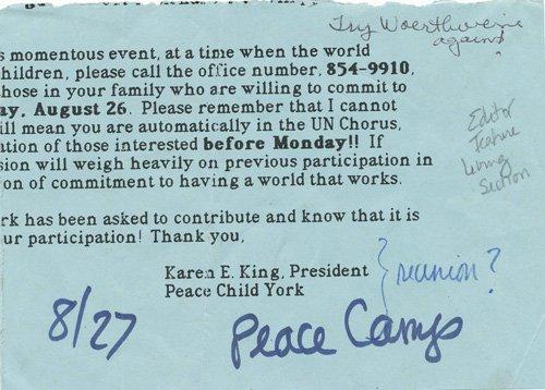 Peace Child York camp flyer