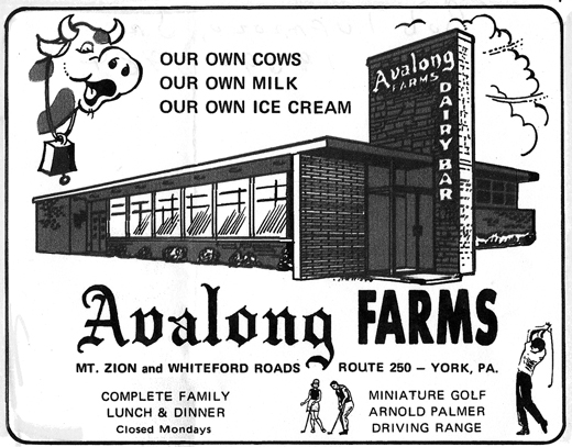 "This advertisement from former York County restaurant Avalong Dairy Bar is from a 1971 edition of ""This Month"" magazine and was submitted by Regina (Tufarolo) Altland."