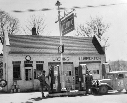 "This photo shows the Windsor Service Station sometime in the 1930s with Frederick ""Fritz"" Frey, left, and one of the original partners at right."