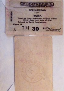 Willard F. Kehr has these train tickets from 1943 and shared his memories of the ride from York to Springwood Park.
