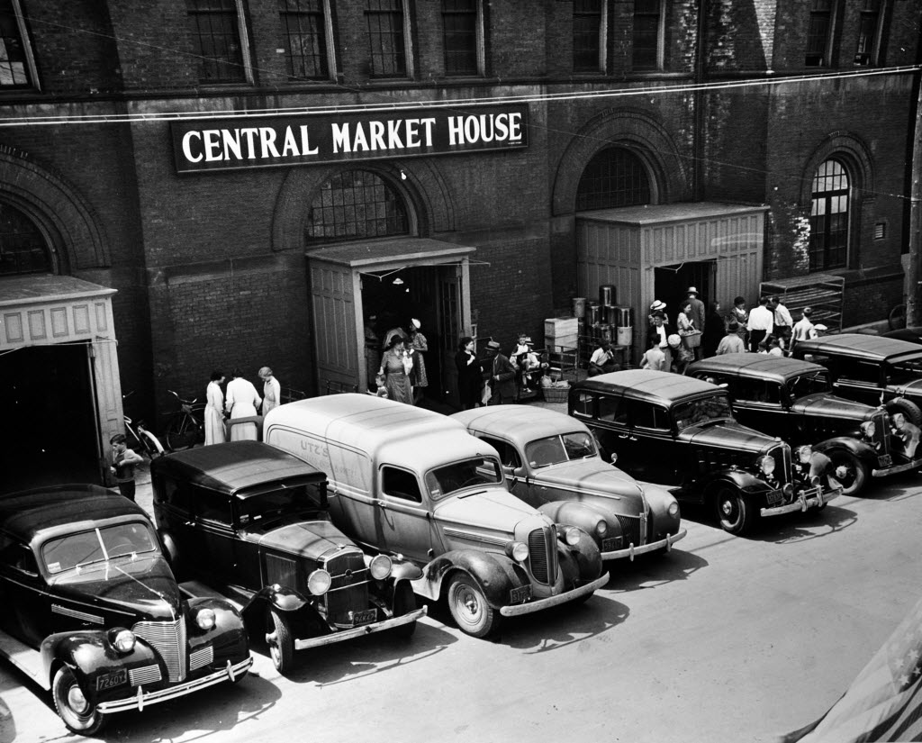Vendors backed straight in at Central Market in pre-World War II York, Pa., seen in this photo courtesy of the York County History Center.