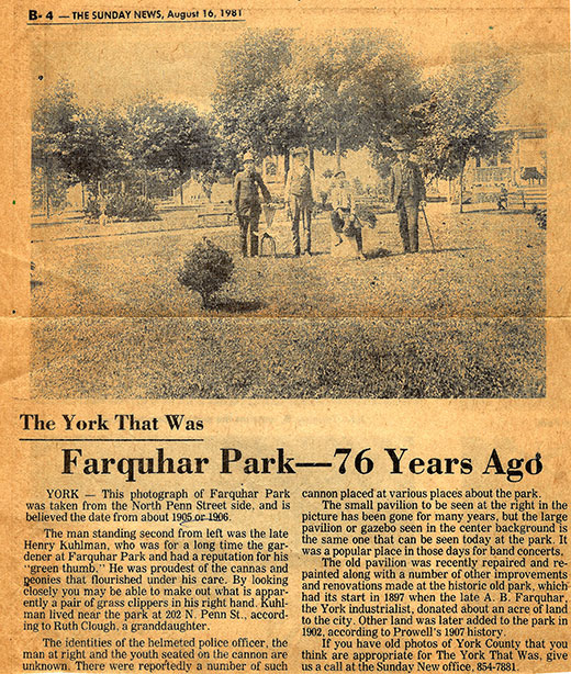 Mary Baum shared this clipping of a Sunday News item from 1981, showing a 1905 or 1906 photo taken in Farquhar Park. The man at left in the photo is Henry Kuhlman, longtime gardener of the park and the father of someone very important to Mary's family.