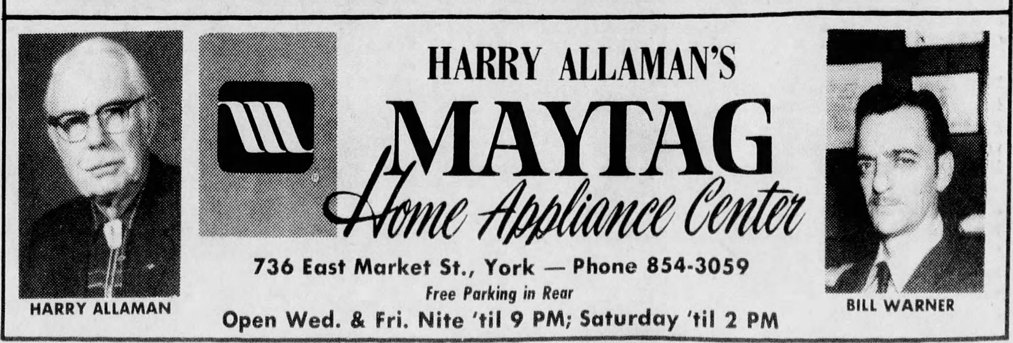 Audrey Lerew found this ad for Harry Allaman's Maytag Home Appliance Center in a 1975 edition of the York Daily Record.