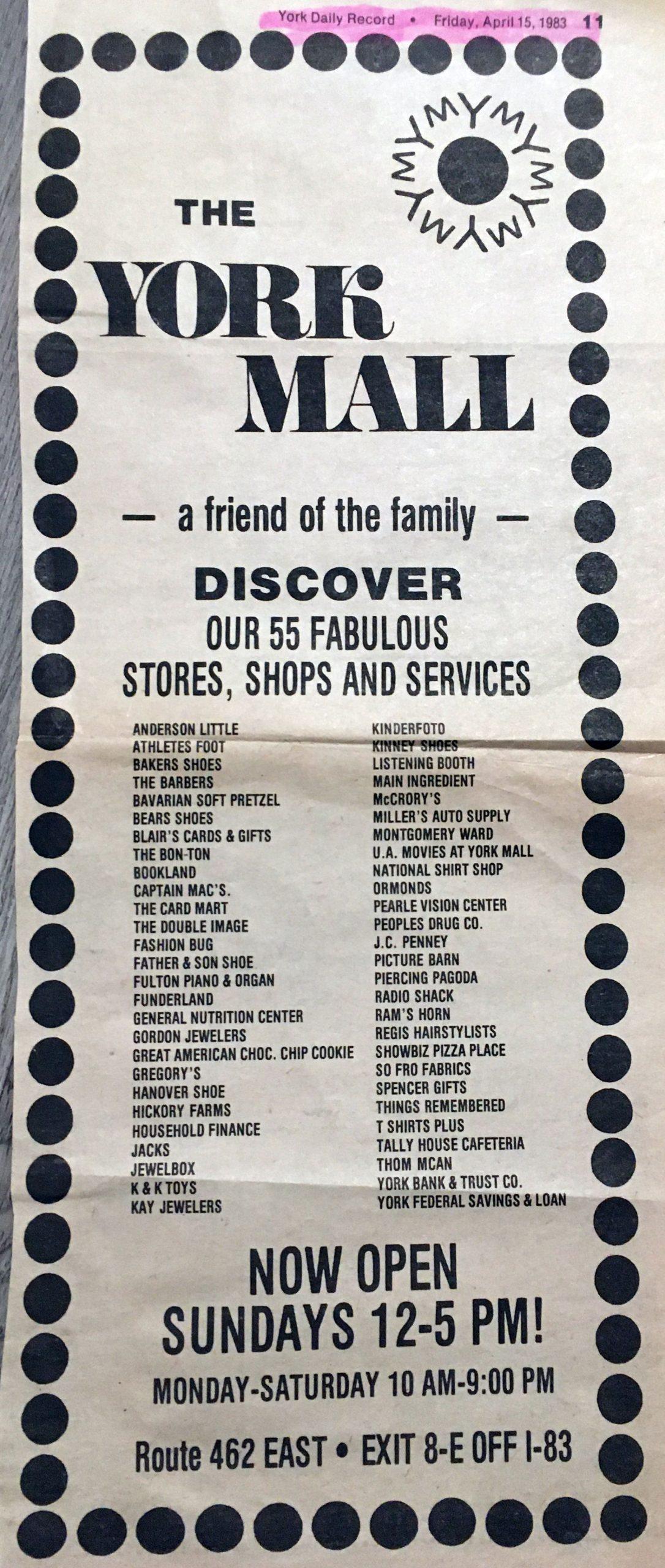 Ask Joan: York Mall memories, pest