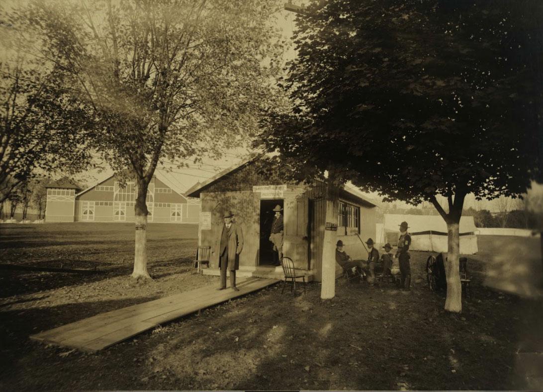 A familiar building looms in the background, as the York Fairgrounds is set up to serve Spanish flu patients in this photo from the York County History Center.a