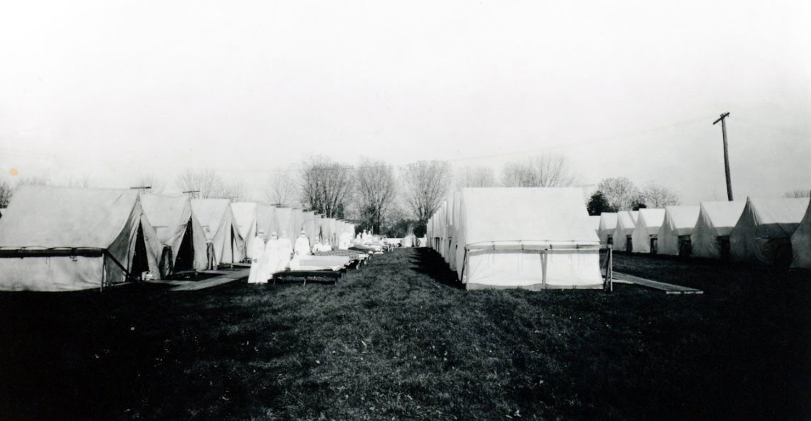 The York Fairground was equipped as a makeshift hospital to care for Spanish flu victims, as seen in this photo from the York County History Center.
