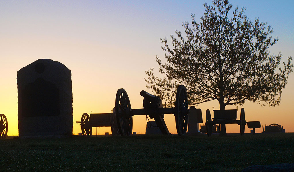 York PA history - An image of the Gettysburg battlefield at sunset