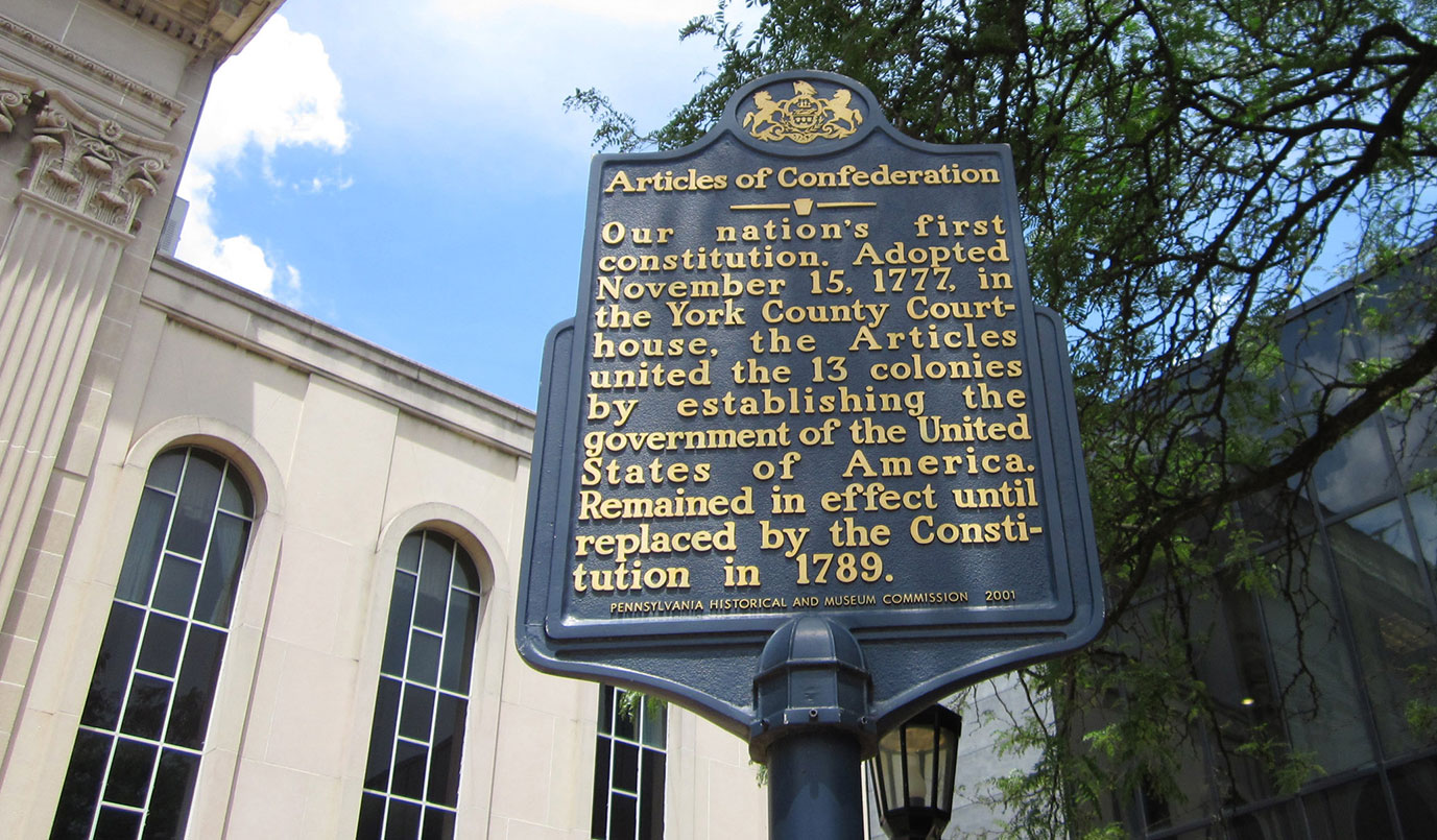 York PA history - An image of a blue historical marker in downtown York, Pa.