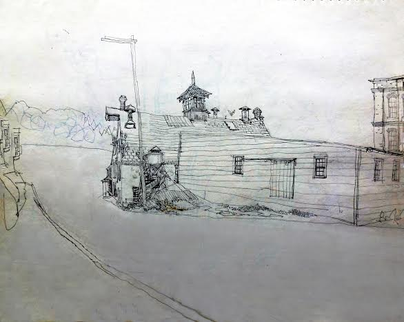 Cliff Satterthwaite drawing of Glen Rock Mill Inn