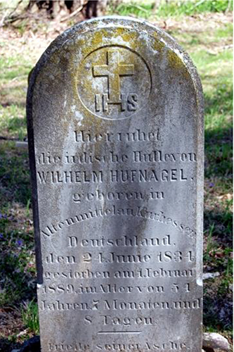 Willilam Hufnagel's tombstone (written in German) in the Catholic Cemetery at Larue. Courtesy  of the Codorus Valley Chronicles