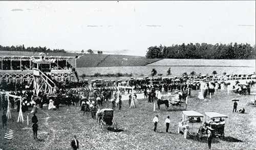 In 1903, the Shrewsbury Trotting and Driving Association began racing at the newly constructed trac int he northern part of town. The association was formed by several local businessmen who met at the Shrewsbury Hotel. The reacetrack was located on the west side of North Main Street, near the present site of the Assembly of God Church. Courtesy of Bob Ketenheim's book Images of America Around Shrewsbury