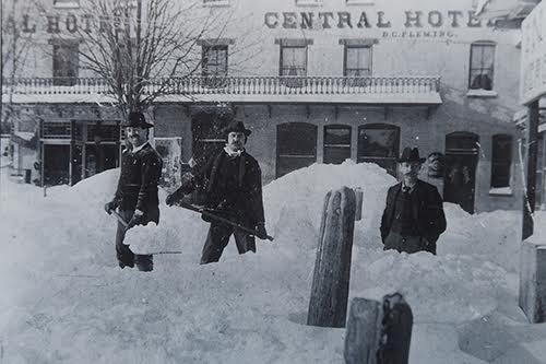 Shoveling out from a blizzard in front of the Central Hotel in Hanover's Center Square in 1890.  Courtesy of Hanover Area Historical Society