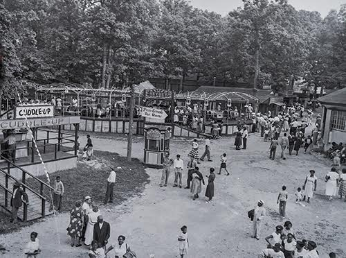 Crowds at Forest Park in 1955. The amusement park, which was located on Baltimore Street, was closed in 1966 to make way for a shopping center.  Courtesy of Hanover Area Historical Society