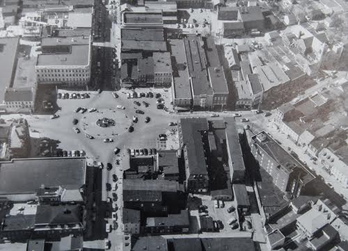 An aerial view of Hanover's Center Sqaure from the 1950's.  Courtesy Hanover Area Historical Society