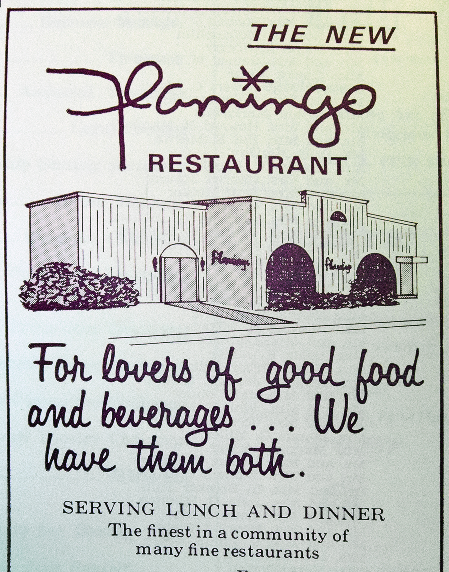 An ad from 1975 for the Flamingo Restaurant that used to be across the street from at York Little Theatre, Monday September 14, 2015. It was a popular restaurant before shows and for drinks after. Paul Kuehnel - York Daily Record/ Sunday News