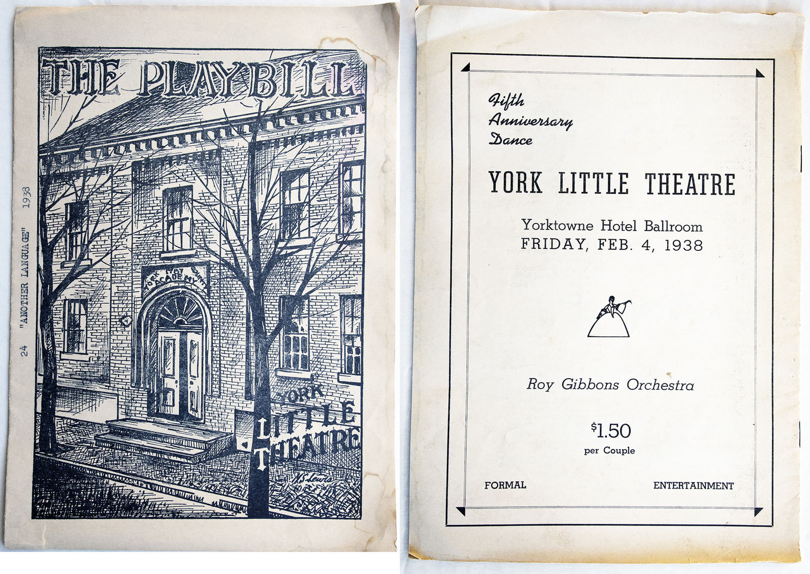 A 1938 Playbill for York Little Theatre with a picture of a past home at the former York County Academy Building at 153 N. Beaver Street. The back of the Playbill advertises a Fifth Anniversary Dance, Formal, $1.50 per couple Monday September 14, 2015 Paul Kuehnel - York Daily Record/ Sunday News