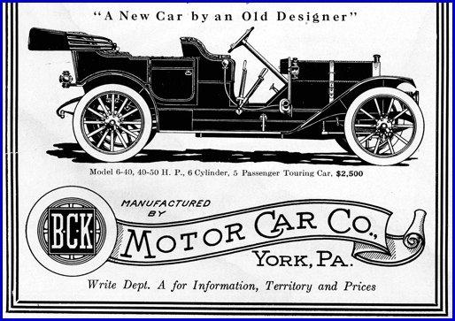 Pennsylvania Motor Cars New Metal Sign: Kline Kar York 1911 B.C.K