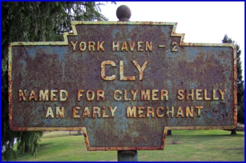 York County Keystone Marker for Cly (Photographed 13 March 2013 by S. H. Smith)