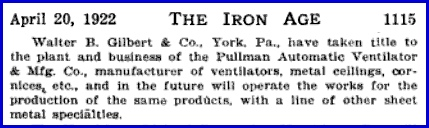 Passage on page 1115 from April 20, 1922 Issue of The Iron Age