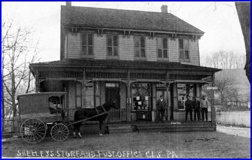Shelley's Store and Post Office in Cly, PA (Source: The Hobo's Guide to the Pennsy, York Haven Line, Edited by Jerry Britton)