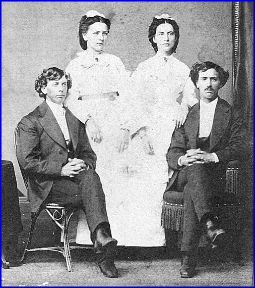 1872 Marriage Photo of John & Lizzie Gilbert (left side) and their attendants Esther Knisely & George Heim (Photo from Collection of Shirley Keeports)