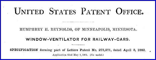 Header for Patent No. 275,271 issued to Humphrey H. Reynolds on April 3, 1883 (U.S. Patent and Trademark Office)