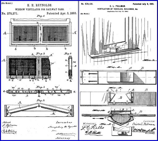 Comparison of Patent Drawings: Patent No. 275,271 on Left, issued to Humphrey H. Reynolds & Patent No. 678,130 on Right, issued to Charles Lewis Pullman (U.S. Patent and Trademark Office)