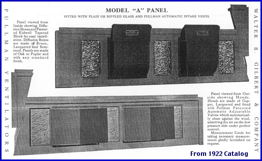 "Model ""A"" Panel Pullman Ventilator, from page 4 of the 1922 Walter B. Gilbert & Company catalog of Pullman Automatic Ventilators (Archives of the York County Heritage Trust)"