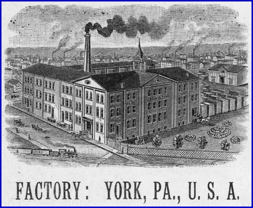 Weaver Organ & Piano Co. Factory shown in 1899 Ad (Source: Official Program; Sesqui-Centennial of York County 1749-1899, S.H. Smith Collection)