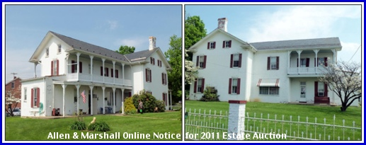 Ettline Victorian Home at 3790 East Market Street in Springettsbury Township (Allen & Marshall Online Notice for 2011 Estate Auction)