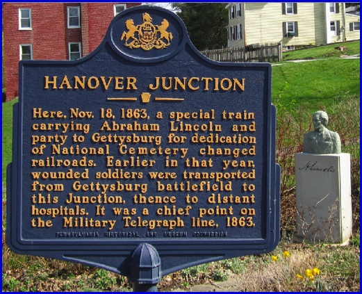 Pennsylvania Historical and Museum Commission Marker at Hanover Junction, York County, PA (2013 Photo, S. H. Smith)