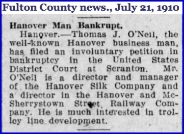 Article in July 21, 1910 issue of the Fulton County News, published in McConnellsburg, Pa.