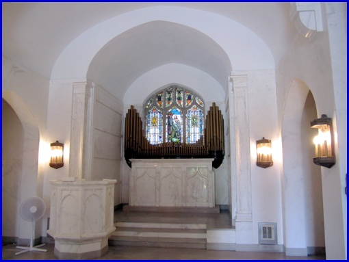 Chapel inside Keystone Mausoleum at Mt. Rose Cemetery (2013 Photo, S. H. Smith)