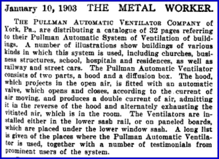 Article in January 10, 1903 Issue of The Metal Worker