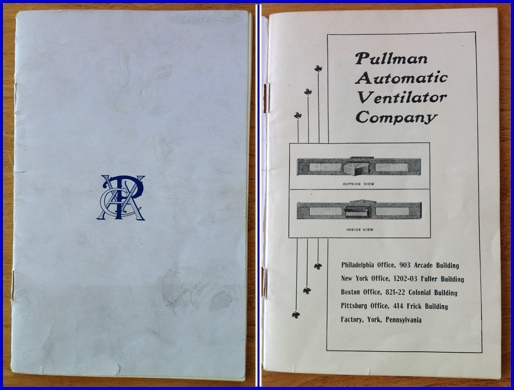 Front Cover and First Page of the 32-Page Pullman Automatic Ventilator Company Catalogue of 1902 (Catalogue in Collection of Hagley Museum & Library, Wilmington, DE)
