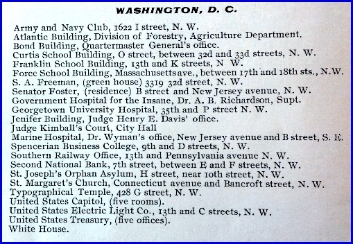 Additional Washington D. C. users of the Pullman System of Natural Ventilation listed in the Pullman Automatic Ventilator Company Catalogue of 1902 (Catalogue in Collection of Hagley Museum & Library, Wilmington, DE)