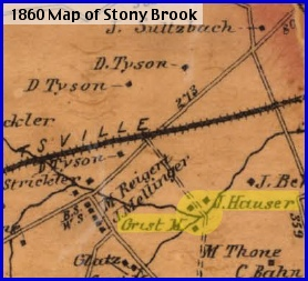 Section of Shearer's 1860 Map of York County, PA (J. Hauser Grist Mill highlighted by S. H. Smith, 2013)