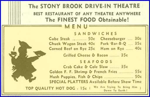 Menu on Stony Brook Drive-In Theatre black & white flyer from 1955 (from Collection of York County Heritage Trust; Colorized by S. H. Smith, 2013)