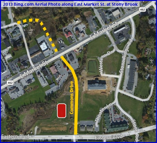 2013 Bing.com Aerial Photo along East Market Street at Stony Brook (Annotations in Yellow and Red by S. H. Smith, 2013)