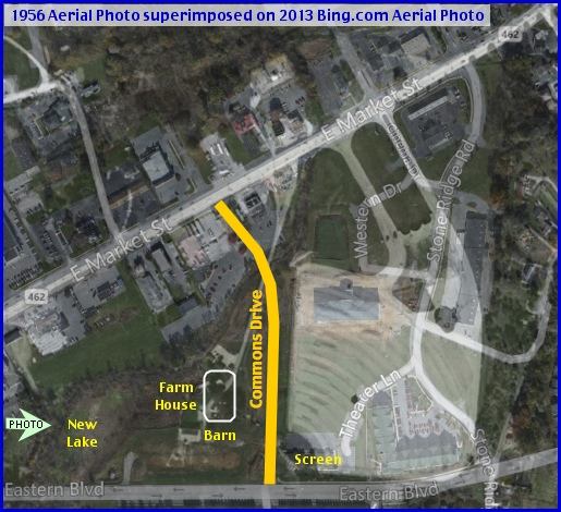 October 1st 1956 Aerial Photo, from York County Archives, superimposed on 2013 Bing.com Aerial Photo; along East Market Street at Stony Brook (Photo Arrow & Annotations in Yellow by S. H. Smith, 2013)