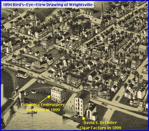 Location of Columbia Embroidery Company indicated on an 1894 Bird's-Eye-View Drawing of Wrightsville (Drawing Created and Published in 1894 by T. M. Fowler and James B. Moyer of Morrisville, PA; Annotations in Yellow by S. H. Smith, 2013)