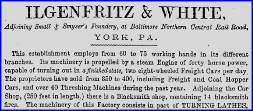 Top part of Ilgenfritz & White ad on page 69 of 1856 York, PA Business Directory