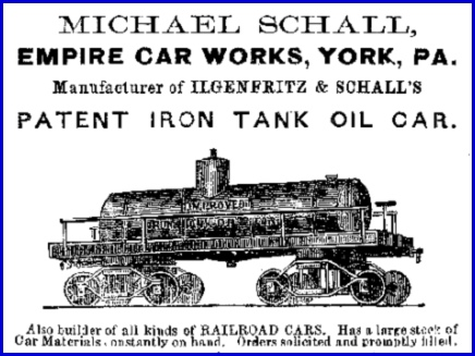 Empire Car Works ad for Patent Iron Tank Oil Car (1870 ad in the U.S. Mining Register, from http://www.midcontinent.org Internet site)