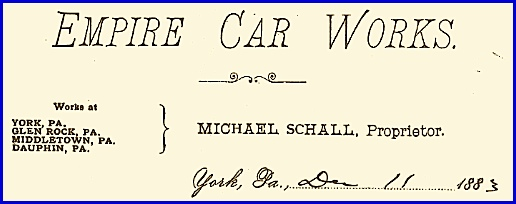 Empire Car Works Letterhead dated Dec. 11, 1883 (From Collections of York County Heritage Trust)