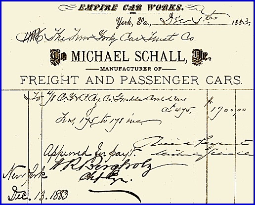 1883 Empire Car Works Bill for (4) 8-Wheeled Gondola Cars at $475 Each (From Collections of York County Heritage Trust)